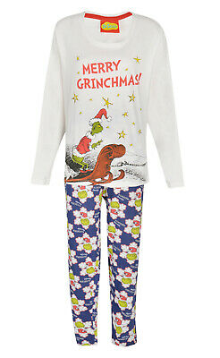 Ladies Pyjamas Christmas Grinch Ex Uk Store 12-16 Merry Grinchmas Blue/White New