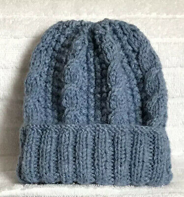 Brand New Hand Knitted Baby Boys Denim Blue Hat Size 0-3 Months, Free Postage.