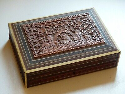 Antique Sandalwood Carved Anglo Indian Inlaid Box / Casket  See photos for overa