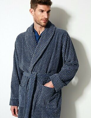New Ex M&S Collection Men's Luxury Pure Cotton Printed Dressing Gown RRP £59
