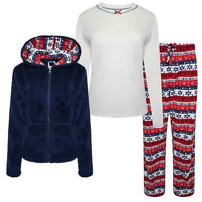Ex-Stores 3 Piece Supersoft Fleece Pyjama Set Nightwear, PJ's Size 6-24