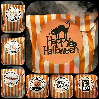 Halloween Sweet Bags With Stickers Orange & White Paper Candy Stripe Party Bags