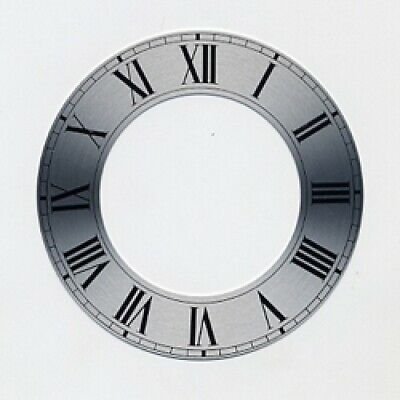 Spun Silver Replacement Clock Zone Dial 4 inches 102mm Roman Numeral - CZ14