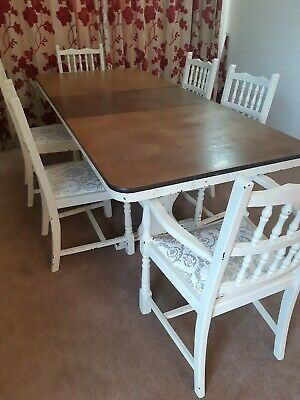 Dining table and six chairs, with extendable 'Oak' top, distressed, shabby chic