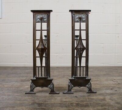 Antique Brass & Copper Charles Rennie Mackintosh Style Fire Dogs Andirons.