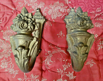 Pair Of Striking Antique French Ormolu Brass Curtain Hold Backs