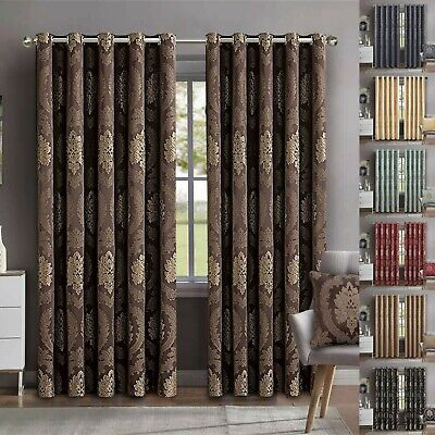 Heavy Jacquard Eyelet Ring Top Fully Lined Curtains With Tie Backs 90x90, 66x72
