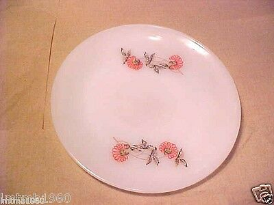 """1- OVEN Fire-King WARE Fleurette RARE 2 PINK FLOWERS SAUCER FOR CUP 5 3/4"""" RND"""