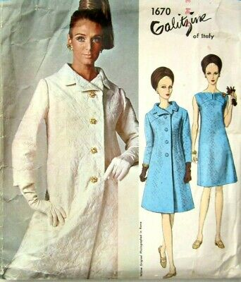 Vogue 1670 Sewing Pattern 1960's Couturier Design Galitzine Misses 14 Dress Coat