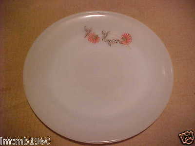 """1- OVEN Fire-King WARE Fleurette PATTERN PINK FLOWERS SAUCER FOR CUP 5 3/4"""" RND"""