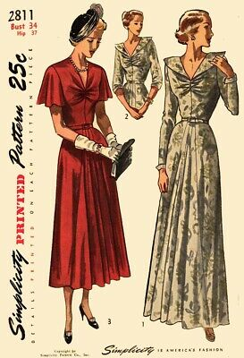 1940s 1950s Vintage Simplicity Pattern 2811 Evening Dress 40s 50s Day or Formal
