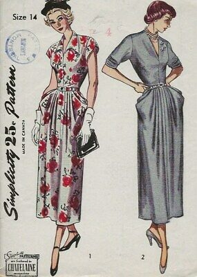 Vintage 1940s 1950's Simplicity Pattern Dress 2876 40s 1950s 50s 14/32 church