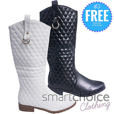 Ladies Girls Riding Knee High Quality Zipup Black White Leather Boots Shoes Size
