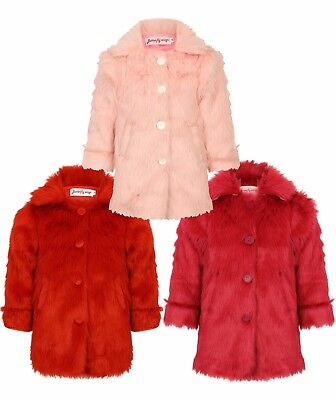 Girls Furry Wool Fleece Jacket Winter Coat Fashion Red Magenta Baby Pink Coat XX