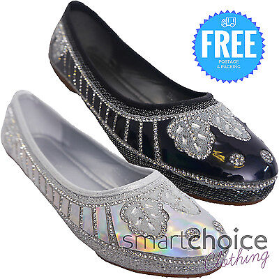 Ladies Girls Flat Pumps Womens Glitter Ballet Sandals Dolly Bridal Shoes Size