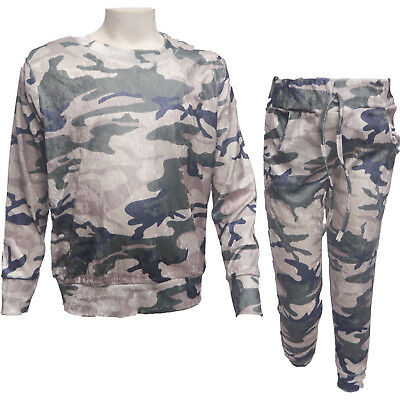 New Girls Camo Camouflage Army Tracksuit Top & Leggings Age Crushed Velvet