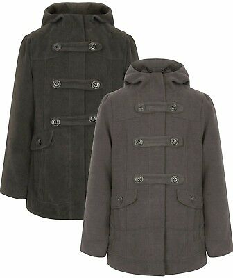 Girls Duffle Coat Black Grey Wool Hooded Rrp £32 7-13 Years