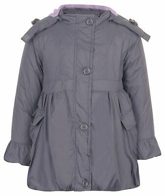 girls school coat grey Winter Fur Grey Hood Parka Jacket Coat Age Size 3 4 5 6 7