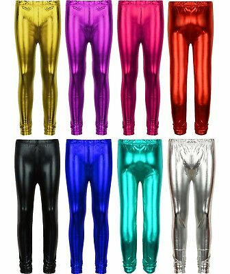 Girls Metallic Leggings Dance Wet Look Shiny Kids Children Costume Disco Party