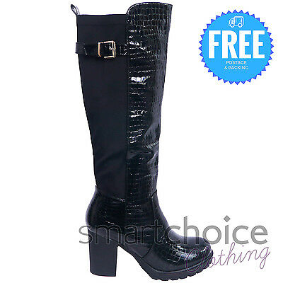 Ladies Girls Riding Knee High Quality Zipup Black Leather Boots Shoes Size