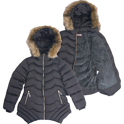 Girls Padded Casual School Jacket Puffa Quilted Coat Fleece Winter Black Fur