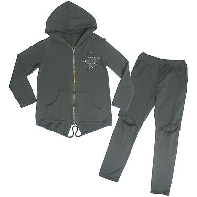 Girls Light Weight Hooded Jog suit Kids Tracksuit