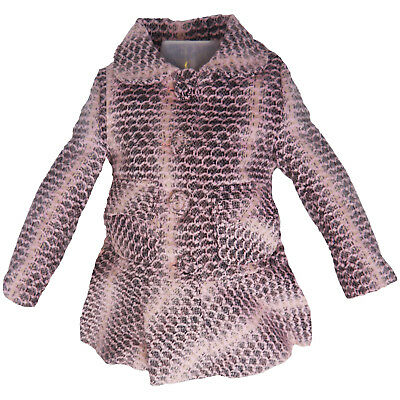 New Wool Blend Coat Age 3 4 5 6 Girls Jacket Lined Pink