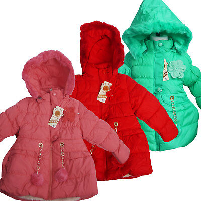 Kids Girls Quilted Winter Coat Puffer Fur Collar Hooded Jacket Parka Size Age