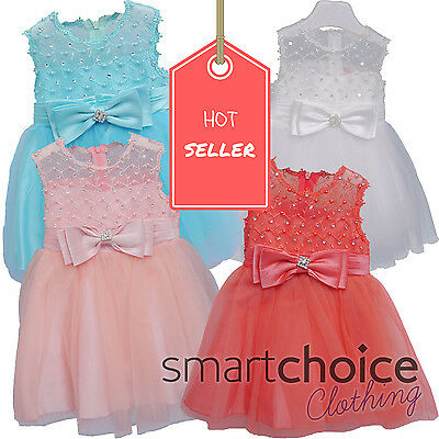 Babies Girls Kids Dress Peach Pink Strawberry White & Turquoise Sequin Design
