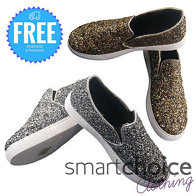 Girls Slip On Glitter Pumps Summer Holiday Party Shoes Canvas Skater Size