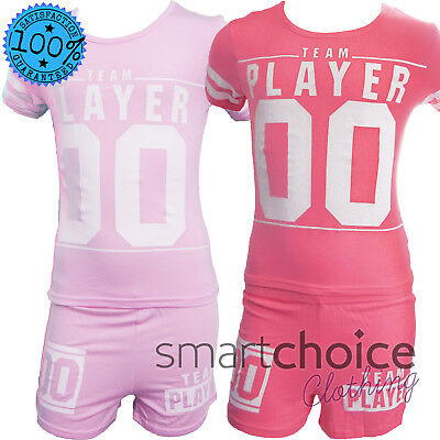 Girls Summer Shorts T-Shirt Set 2pc Outfit Shortsleeve Toddler Outfit Player 00
