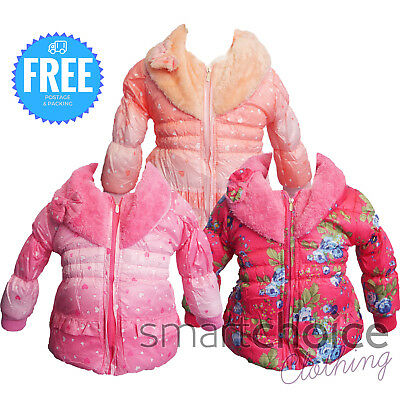 New Girls WARM Winter Jacket Padded Coat Lined Size Peach Coral, Hot & Baby Pink