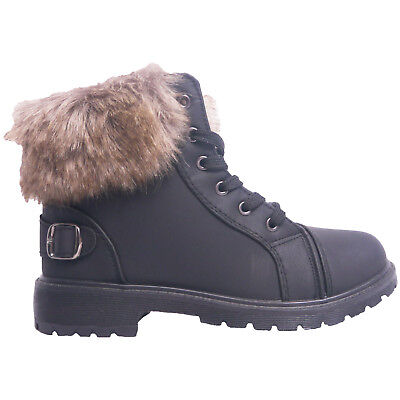 Girls Warm Faux Fur Lined Boots Infants Trainers Kids Ankle Winter