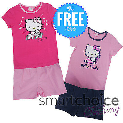 Official Girls Hello Kitty Shirt & Shorts 2pc Set Hot Pink & Baby Pink Colour
