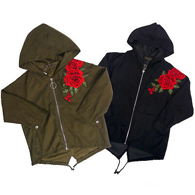 Girls  Hooded Top Long Sleeved Zip-Up Embroidered Rose