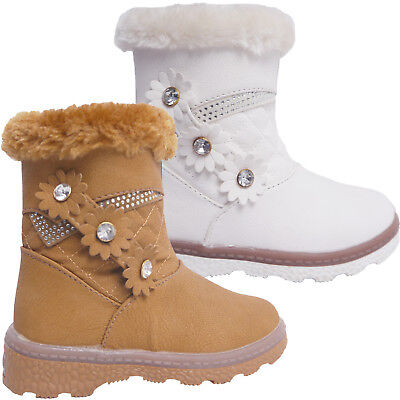 Kids Girls Boys Faux Fur Winter Warm Zipper Ankle Boots Trainers Shoes Size New