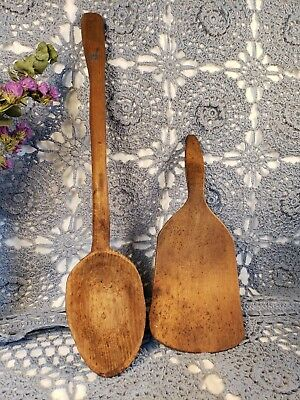 Lot of 2 ANTIQUE PRIMITIVE HAND CARVED MAPLE WOOD SPOON LADLE & BUTTER PADDLE
