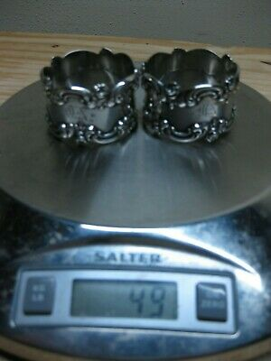 Vintage Sterling Silver Pair Napkin Rings, R. Blackinton Co.,Rose Floral Scroll