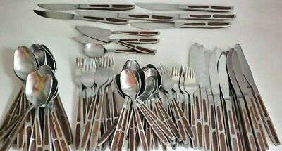90 Piece Set Interpur Mid-Century Wood Japan Stainless Flatware Lot Free US Ship