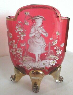 Antique Mary Gregory Victorian Cranberry Glass Country Lady White Enamel Vase