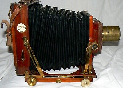 "Vintage Thornton Pickard ""Ruby"" 5X4 Mahogany & Brass Camera + Shutter /Ross Lens"