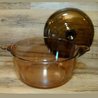 Corning Ware Visions Pyrex Amber Dutch Oven 4.5 L Glass Stock Pot/  Cookware