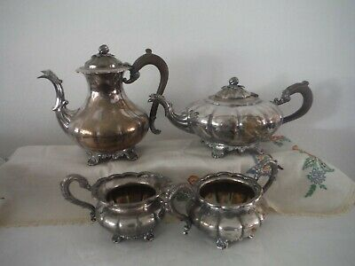 Victorian Plate EPBM Tea and Coffee Pot Creamer and Sugar Bowl #367