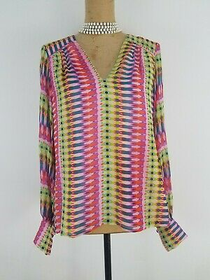 NWT Nanette Lepore Chiffon Top Small Pink Multi Silk Vneck Long Sleeve $348
