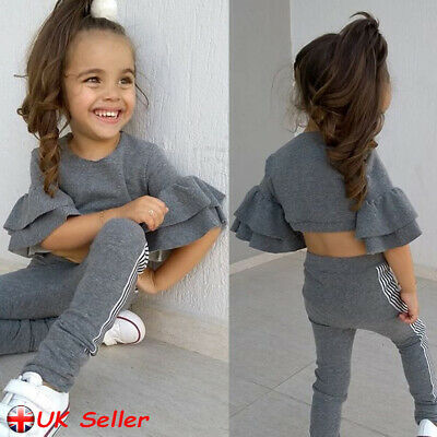 Toddler Kids Girls Outfits Tracksuit Set Ruffle Crop Tops T-Shirt Pants Clothes