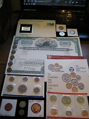 Junk Drawer COIN LOT1992 MINT SET LOT Kennedy Proof Gold Stamp Copper Token