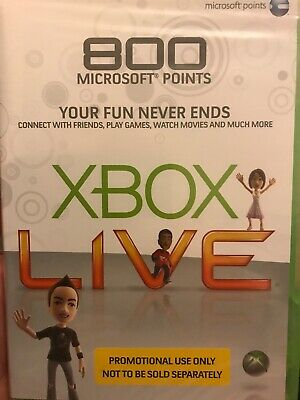Xbox Live 800 Microsoft Points (Xbox 360) New and Sealed