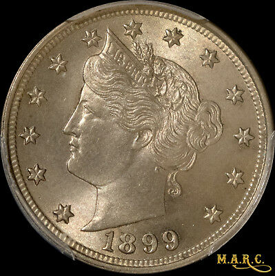 1899 MS65 PCGS 5C Liberty Nickel, Sharp Details with Nice Pewter Toning! MARC