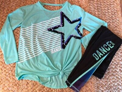 """Justice """"Dance"""" Leggings and Flip Sequin Shirt Set Black and Green Size 14-16"""