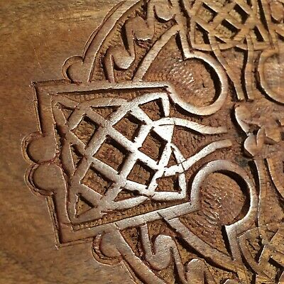 "Wooden Box - Celtic Carving on Lid - 9x6""- VGC - Free Royal Mail Post"